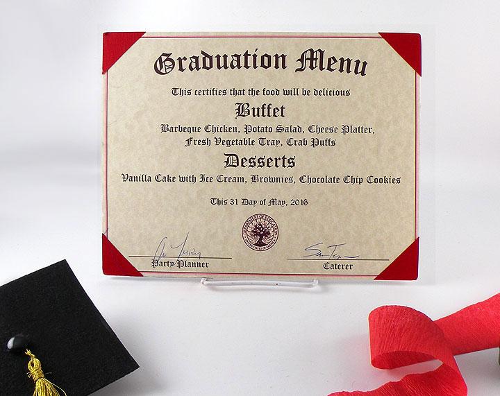 create a diploma graduation menu  diploma graduation menu