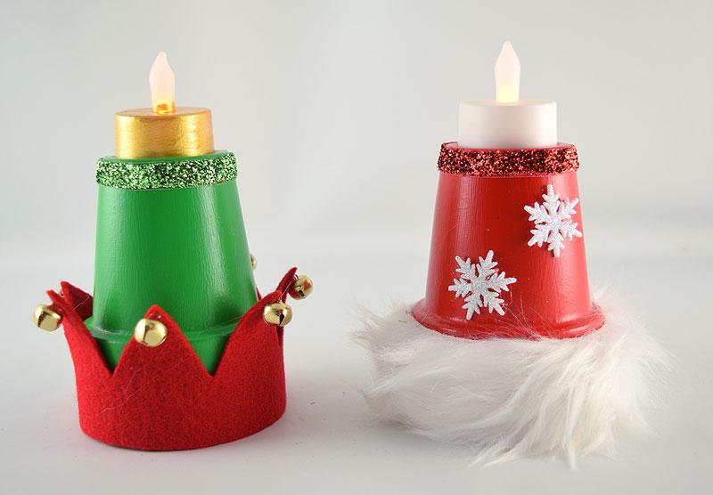 DIY Santa and Elf Hat Decorations