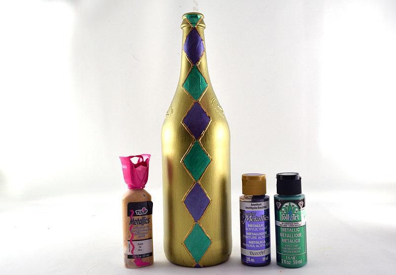 Mardi Gras Wine Bottle