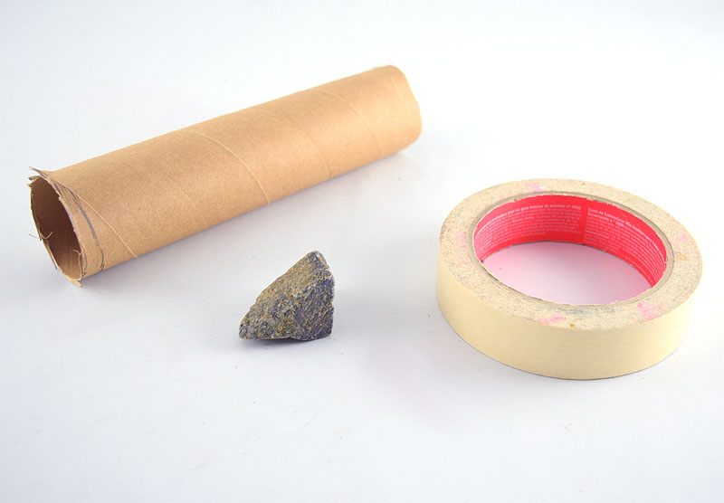 Paper tube, rock and tape