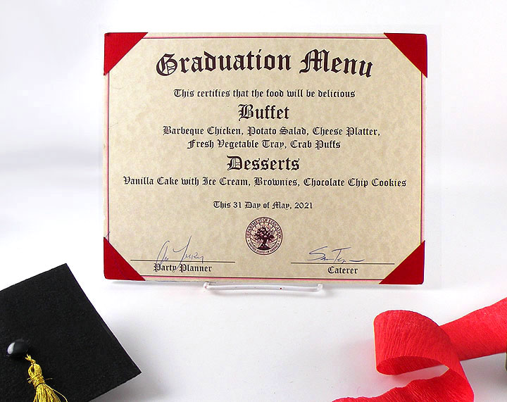 DIY Graduation Party Decorations Diploma Menu 2021